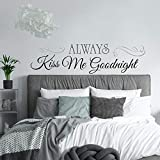 wall decals kiss - RoomMates Always Kiss Me Goodnight Quote Peel and Stick Wall Decals , 10 inch  x 18 inch - RMK2084SCS
