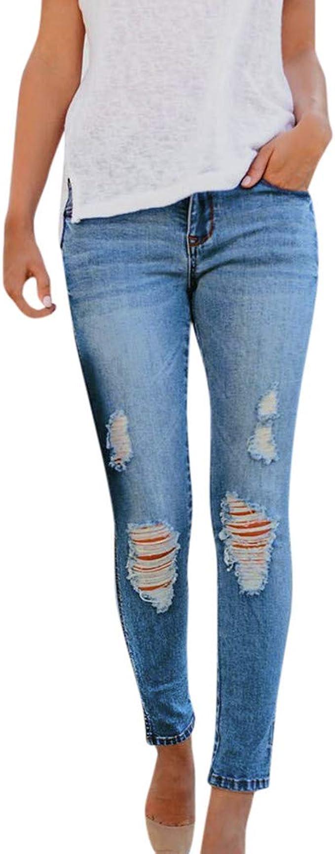 Damen High Waist Jeanshose Skinny Röhrenjeans Hose Stretch Trousers Jeans Slim