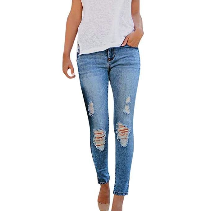 123dde2137d Kehen Women High Waisted Stretch Ripped Skinny Jeans Distressed Denim Pants  at Amazon Women's Jeans store