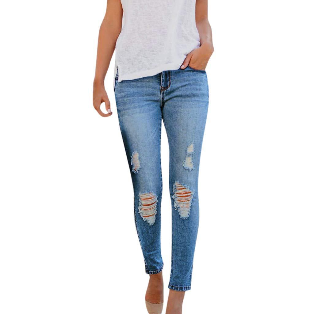 Mysky Fashion Women Casual Daily High Waisted Stretch Slim Hole Denim Jeans Pants