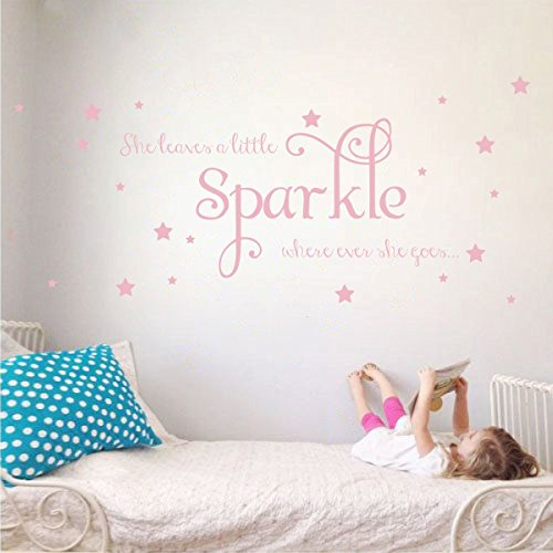 01 Wall Sticker - She Leaves a Little Sparkle Girls Room Vinyl Wall Decal Sticker Inspirational Quote with Stars (Carnation Pink, 15x36 inches)