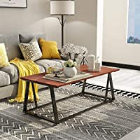 """Coffee Table Cocktail Table with Storage Shelf Sofa Table Rustic End Table for Living Room 47"""""""