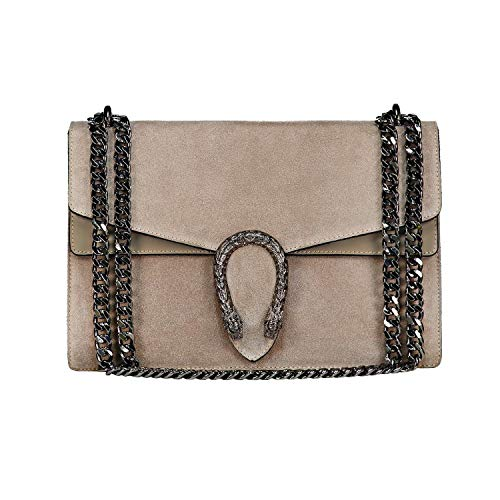 Tiger Clutch (RACHEL Italian Baugette clutch mini wallet cross body bag with nickel chain smooth stiff leather and suede (light taupe))