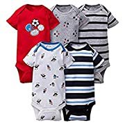 Gerber Onesies 6-9 Months Baby Boys Sports Outfits 5 Pack