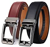 48 slides - Men's Belt, Bulliant Leather Slide Belt for Men Dress with Click Buckle, Trim to Exact Fit,Big&Tall