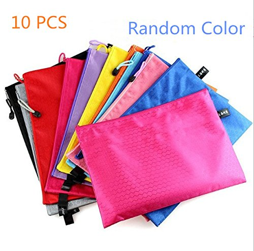 9.25' Metal (Funnylive 10 Pcs; Zipper File Bags Football Shape Document Folder Office Supplies Paper Folder Project Pockets( A5 Size, Random Color ))