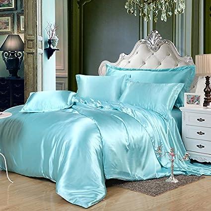 Beautiful Water Blue Silk Bedding Set Duvet Cover Silk Pillowcase Silk Sheet Luxury  Bedding, Full Size