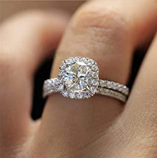 Amazon.com: SAROZ Pear Cubic Zirconia Engagement Ring for Women ...