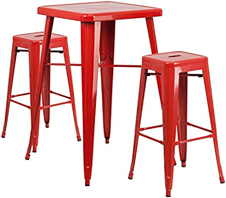 Remarkable Flash Furniture 23 75 Square Red Metal Indoor Outdoor Bar Table Set With 2 Square Seat Backless Stools Cjindustries Chair Design For Home Cjindustriesco