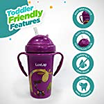 LuvLap Tiny Giffy Sipper / Sippy Cup 300ml, Anti-Spill Design with Soft Silicone Straw, 18m+ (Purple)