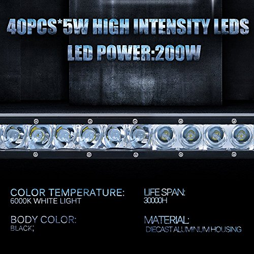 High Power 200w 20 Inch Jeep Accessories Led Light Bar For: Nilight 41Inch 200W Single Row LED Work Light Spot Flood