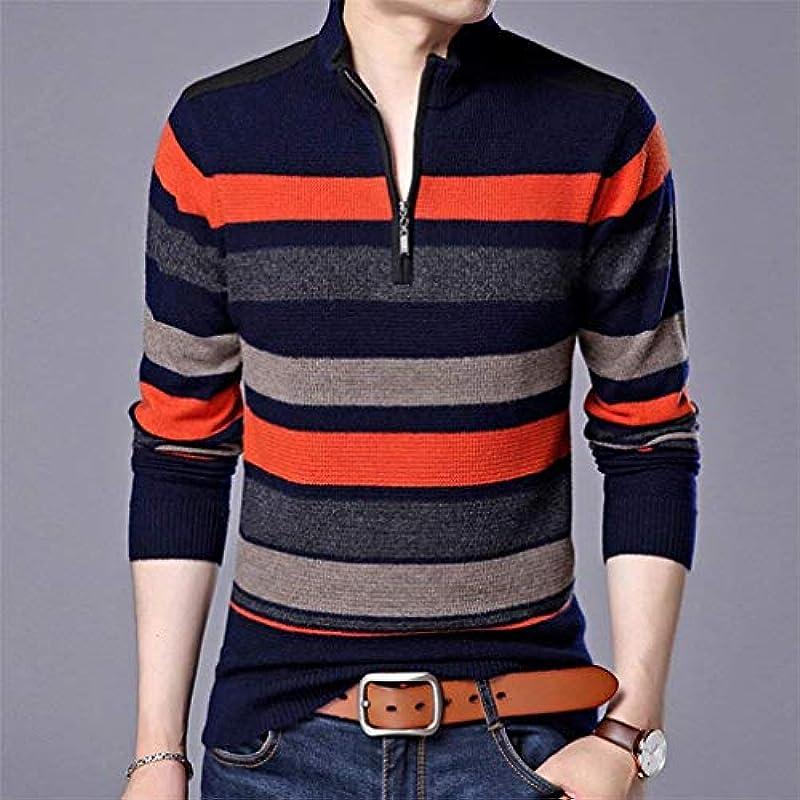 HaiDean męski sweter z dzianiny wiosna jesień długi rękaw Knit Casual sweter Crew Modernas swobodny szyi paski sweter bluza z dzianiny: Odzież
