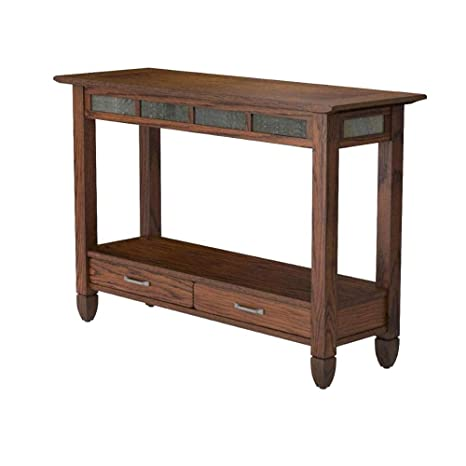 Amazing Amazon Com Oak Entry Table Narrow Console Wood Slate Stone Beutiful Home Inspiration Xortanetmahrainfo