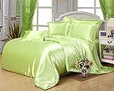 Morning Spa Ultra Soft Luxurious Satin 5-Peice Duvet Set (1 Duvet Cover and 4 Pillowcases) Super Silky Vibrant colors like Sage, King/Cal-King