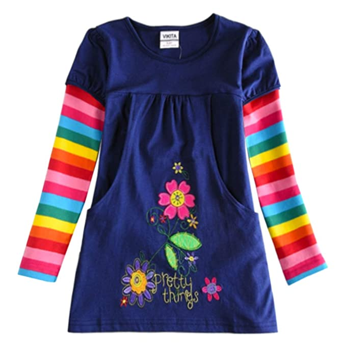0f1c32e767f8 Amazon.com  VIKITA Toddler Flower Girl Dress Cotton Long Sleeve Navy ...