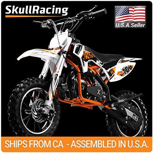 SkullRacing Gas Powered Mini Dirt Bike Motorcycle 50RR (Orange) ()