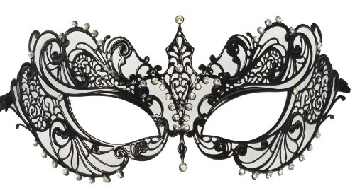 RedSkyTrader Womens Laser Cut Metal Venetian Mask One Size Fits Most Black -