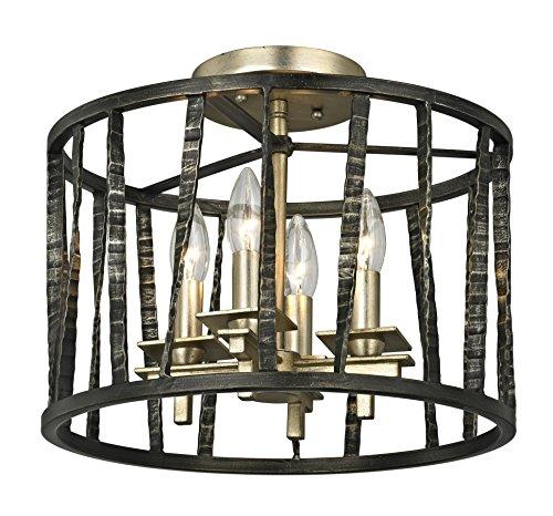 (Troy Lighting C5890 Bastille 4-Light Ceiling Semi-Flush Mount-Pompeii Silver Leaf )
