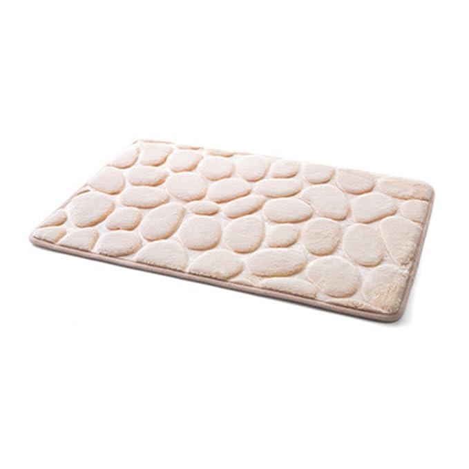 Non-Slip Pebble Flannel Bathroom Bath Rug Foam Pad Mat Shower Floor Carpet USA