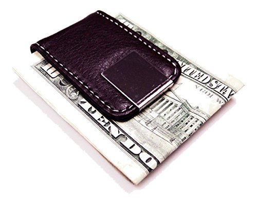Brown Leather Magnetic Money Clip with Chrome Design (Design Magnetic Clip)