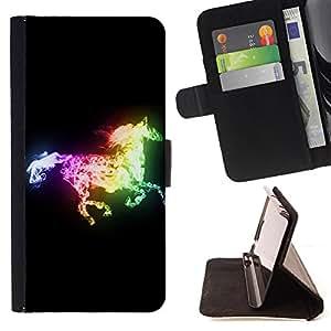 - Horse Cute - - Monedero PU titular de la tarjeta de cr?dito de cuero cubierta de la caja de la bolsa FOR Samsung Galaxy A3 Retro Candy