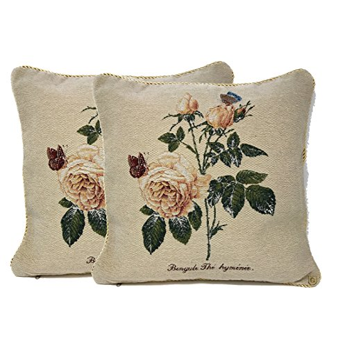 (Tache Home Fashion 2PC-CC-342 2 Piece Golden Summer Rose Throw Pillow Cushion Cover, Multicolor, 18 x 18