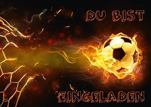 11-er Set Fussball-Einladungskarten (Nr. 10717) zum Kindergeburtstag oder zur Fußball-Party von EDITION COLIBRI © - umweltfreundlich, da klimaneutral gedruckt