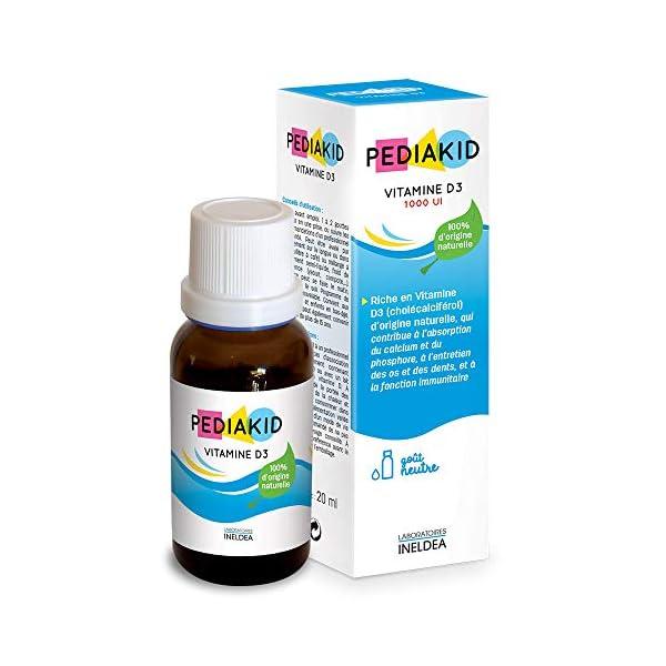 PEDIAKID — Vitamine D3 100% d'origine naturelle — Renforcement des défenses naturelles — Dès la naissance — Couvre 200…