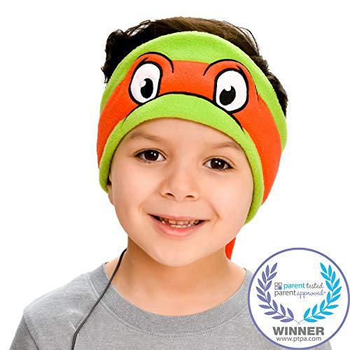 Teenage Mutant Ninja Turtles Kids Headphones by CozyPhones - Volume Limited with Ultra-Thin Speakers & Soft Fleece Headband - Perfect Children's Earphones for School, Home and Travel – Raphael ()