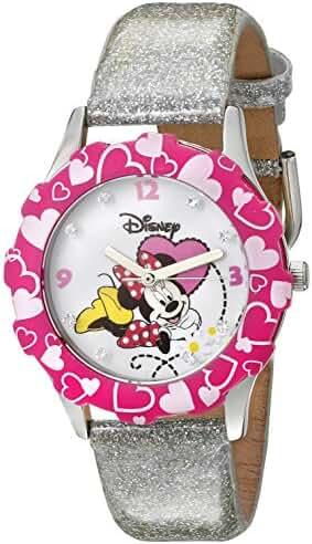 Disney Kids' W000283 Tween Minnie Mouse Glitz Stainless Steel Watch With Glitter Band
