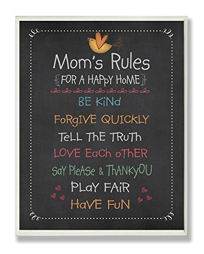 Stupell Home Décor Mom's Rules Chalkboard  Wall Plaque,
