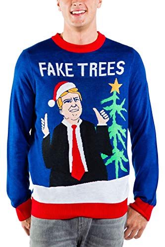 Men's Fake News President Christmas Sweater - Blue Donald Trump Fake Trees Ugly Christmas Sweater: Large (Ugly Ideas Christmas Sweater Mens)