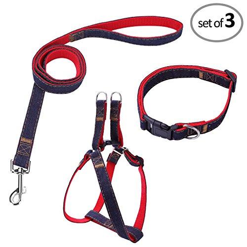 Bark Lover Designer Denim Collar/Leash/Harness Set (XL, ()