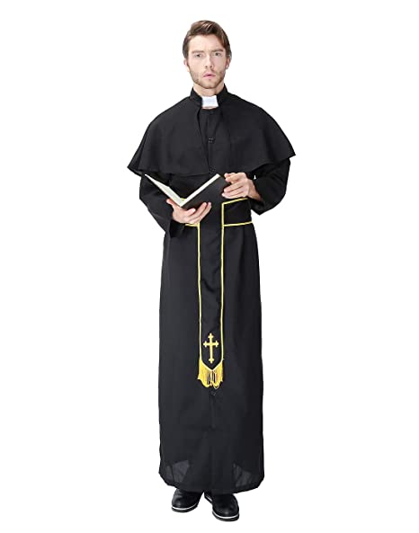 HDE Mens Priest Costume Halloween Party Outfit Traditional Vestments with Robe Collar and Sash Adult One Sized Black