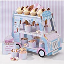 Talking Tables Street Stalls Card 3-Tier Ice Cream Van Stand, Blue and Pink(STALL-ICECREAM)