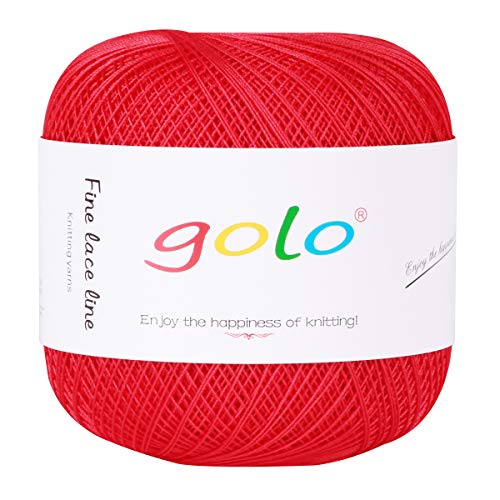 (Cotton Yarn Crochet Threads Balls 400 Yards Size 8 100% Natural Cotton Threads for Crochet Knitting Hanger Cross Stitch Needlepoint Handmade Embroidery (Red))