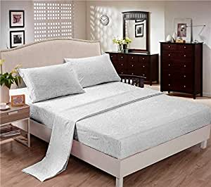 Polyester Bed Sheets (King, White) Wrinkle Free, Fade Free, Stain Resistant, (4 PCS) Flat Sheet, Fitted Sheet & 2 Pillow Cases