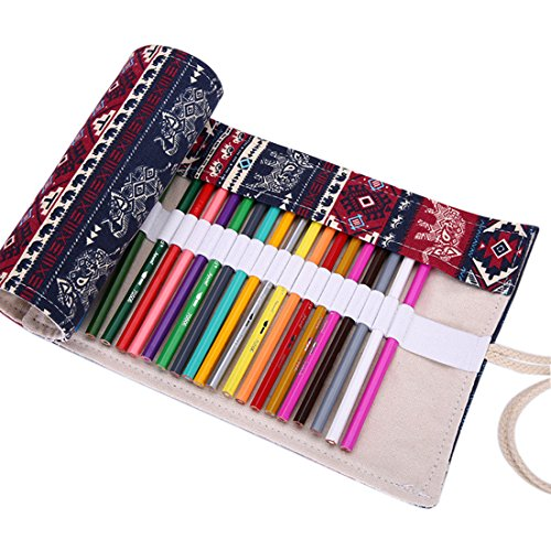 36 holes Canvas Roll-up Wrap Pencil Bag Drawing Brush Holder Thai Elephant Pattern - Grinch Drawing