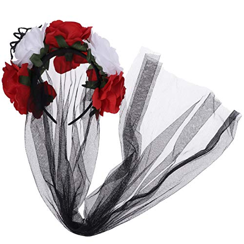 Amosfun Flower Veil Lace Rose Headband Headpiece Halloween Party Veil - Red and Black]()