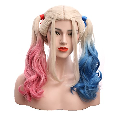 Karlery Women's Pink and Blue Mixed wig Long Curly Halloween Costume Cosplay Wig -