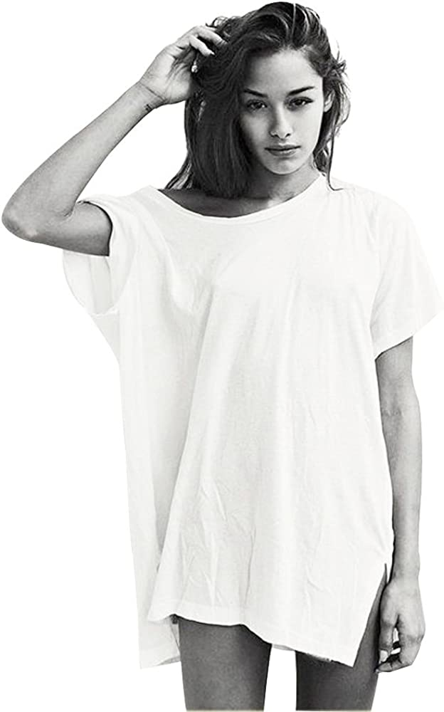 Long T Shirts Dress Women Aesthetic Vintage White Black Baggy Batwing Boyfriend Tee Tunic Tops Plus Size Oversized