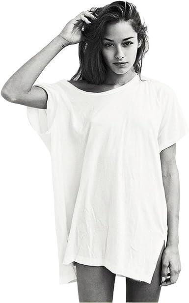 Largo Camisetas Verano Mujer Verano Playa Moda Aesthetic Blanca Negro Blusas Ropa Tops Tallas Grandes Oversize: Amazon.es: Ropa y accesorios