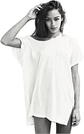 Largas Camisetas Mujer Verano Basic Algodón Blanca Negro Holgadas Túnicas Blusas y Camisas Top Tallas Grandes Oversize