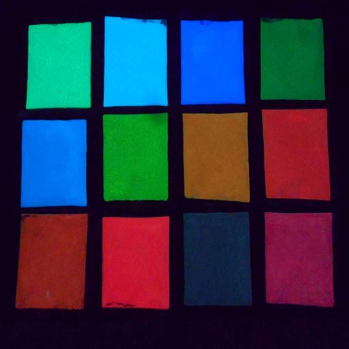 Naisicatar Luminoso Polvo Fluorescente Super Bright Glow Pigment fosforescente Lueur Polvo de Pigment Oscura Polvo Luminosa 12 Colores sûr no tóxicas DIY ...