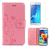 for Samsung Galaxy S5 / S5 Neo Case Wallet ,OYIME [with Screen Protector] Kickstand [Butterfly Flower Embossed] Magnetic Flip Leather Protective Back Cover Card Slot Holder with Lanyard Strap - Pure Pink