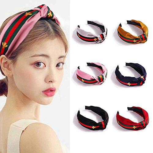 Ceepko Headband With Bee Animal, Cute Wide Headband Bow Fashion Girl Hair Band, 7 Colors To Choose From