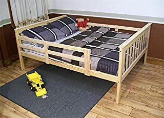 product image for Amish Kids Full Size Bed Frame with Safety Rails Mission Style, Unfinished Pine