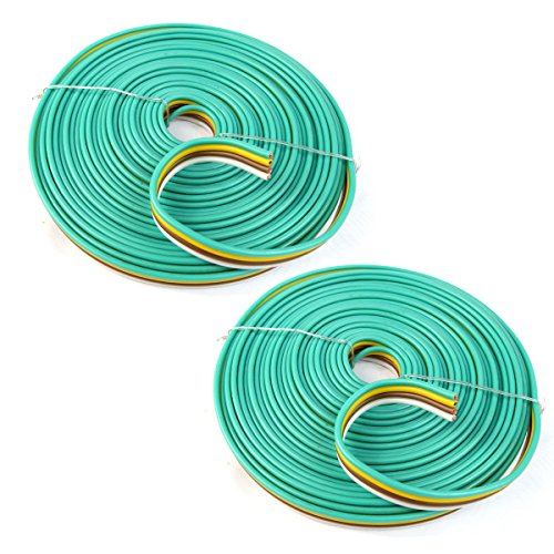 (Best Connections 2 Rolls 14 AWG Gauge 25 Feet 4-Way Flat Bonded Trailer Lights Wire Boat RV Car )