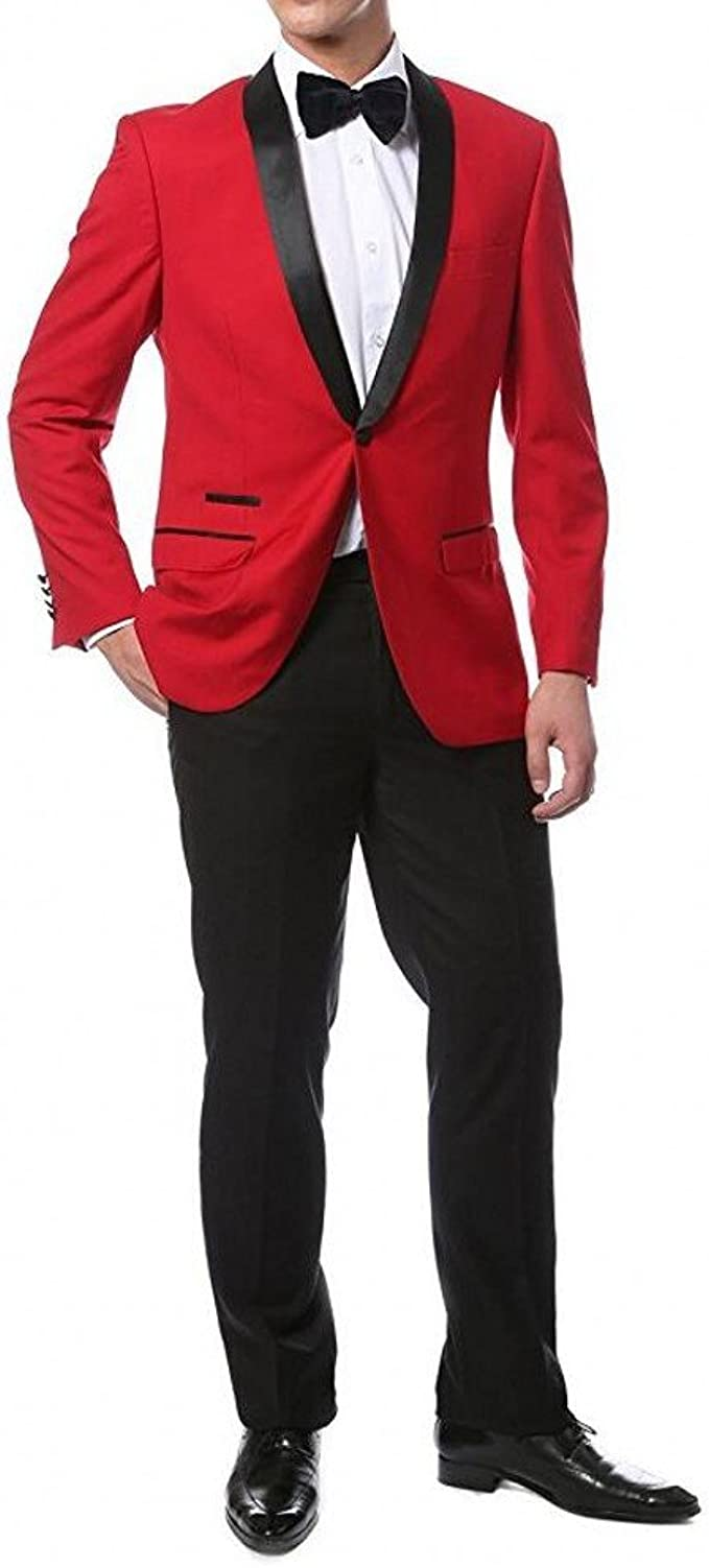 Men S Red Jacket Black Pants Suits 2 Pieces Wedding Suits For Men Groom Tuxedos Party Suit At Amazon Men S Clothing Store