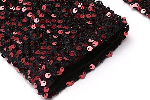 Beyove Sequin V-long Cou Sweat-shirt À Manches Gaine Moulante Mini-robe Rouge De Femmes